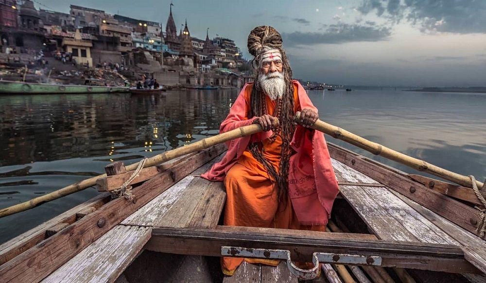 sadhu at varanasi ganga ghat