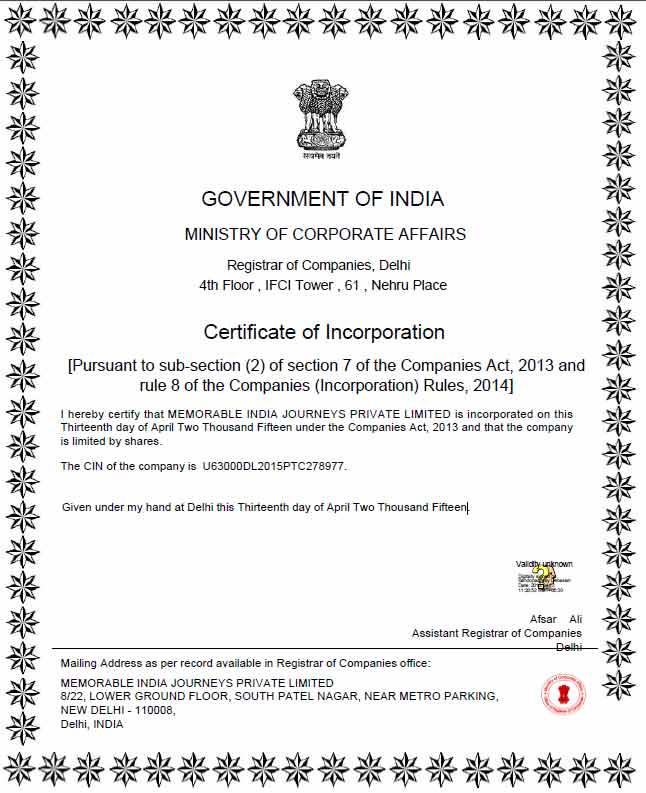 Registration Certificate Memorable India
