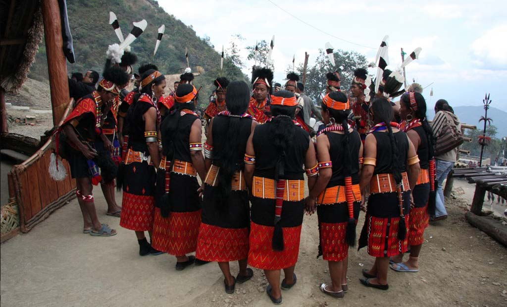 Konyak Tribe Singing and Dancing Nagaland India
