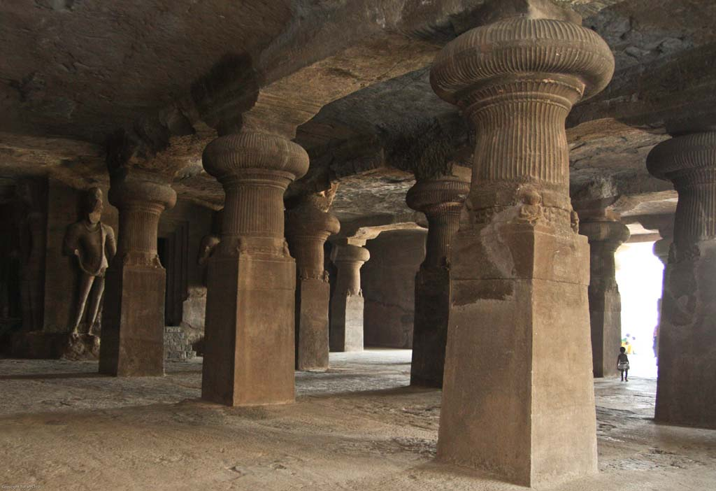 Pillars and Chamber in Elephanta Caves Mumbai India